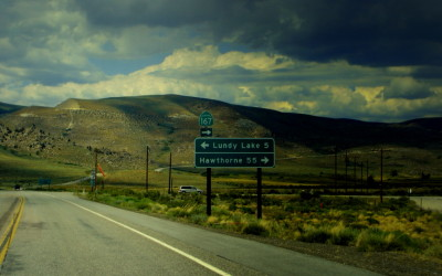 Lundy Lake Highway sign
